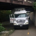 Truck driving on Ohio bike path hits multiple bridges, gets stuck: police